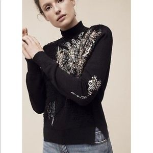 Anthropologie knitted & knotted sequin sweater